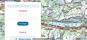 Opção para salvar suas rotas de trilhas pela Suíça.